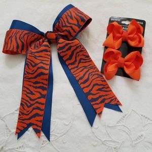 Other - Blue & orange tiger print hairbow set 🔺️HP🔺️